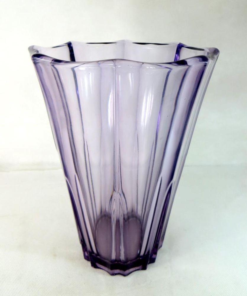 Vintage mid century huge french violet purple octagonal ribbed violet purple octagonal ribbed art glass vase ebay floridaeventfo Images