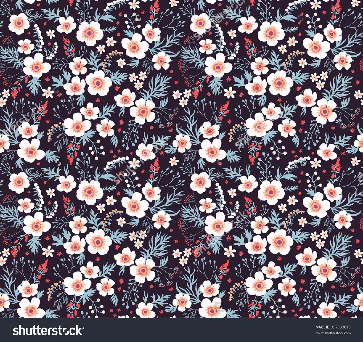 Cute Pattern In Small Flower Small White Flowers Black