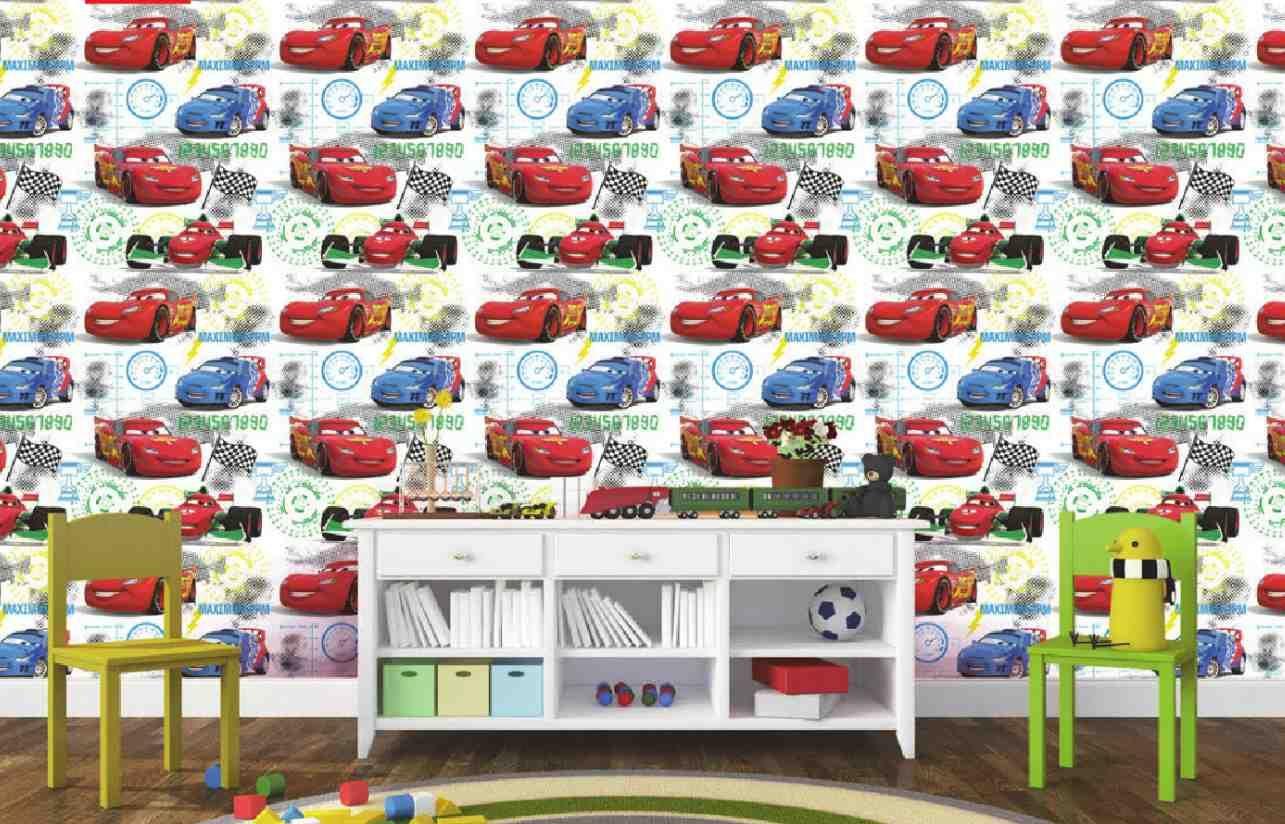 Dětská Tapeta Auta Cars Bílá
