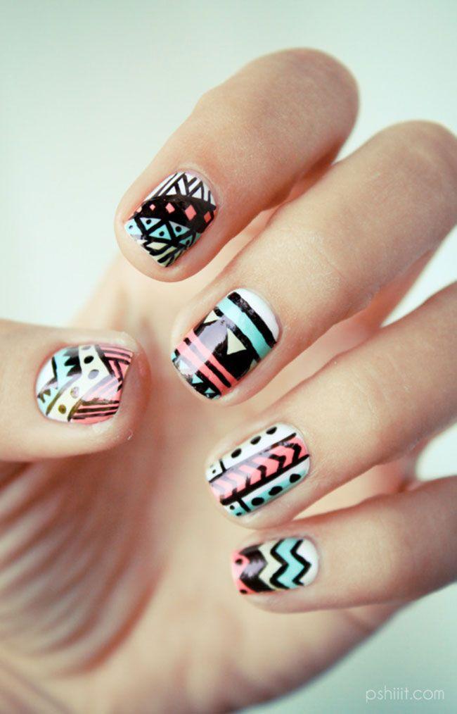 Inspiração navajo nas unhas | Wide nails, Aztec nails and Make up