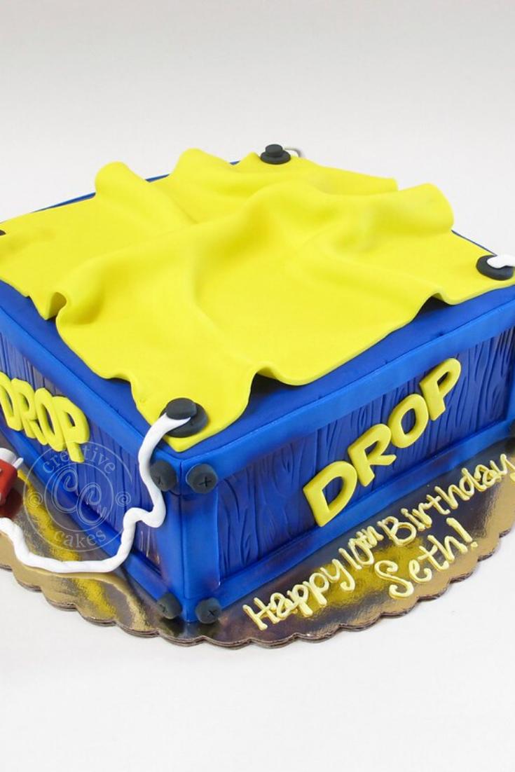 Fortnite Drop Box Birthday Cake with Fondant by Creative