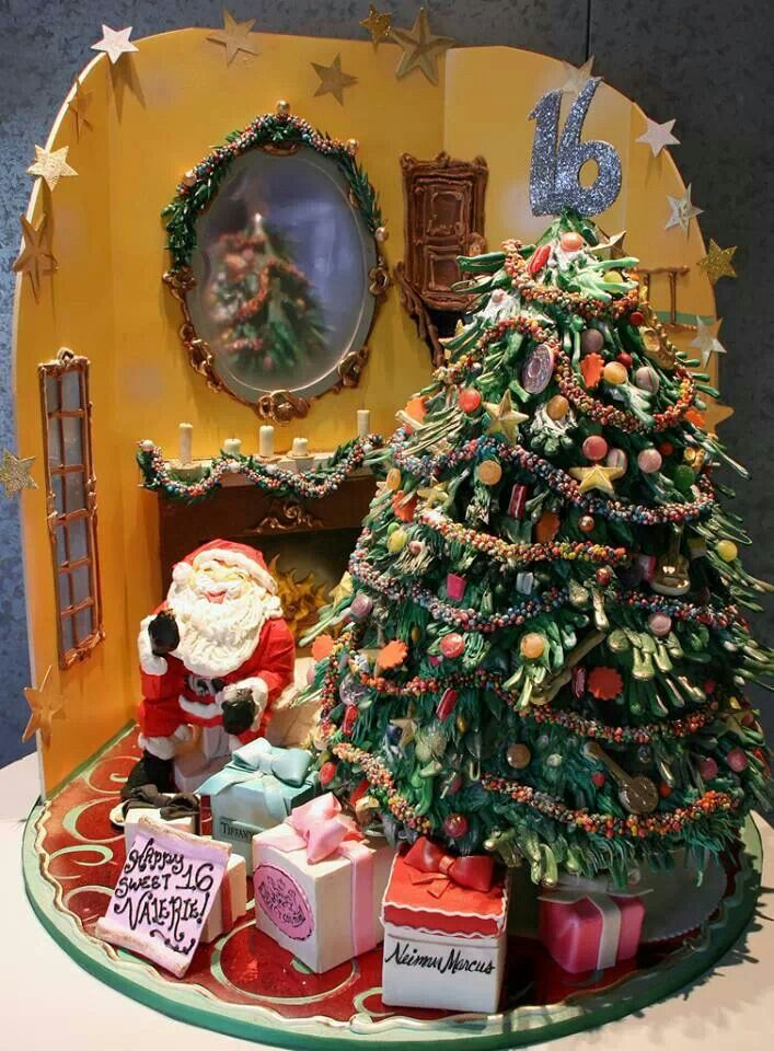 Christmas Christmas Tree Santa Claus Cake Christmas Themed