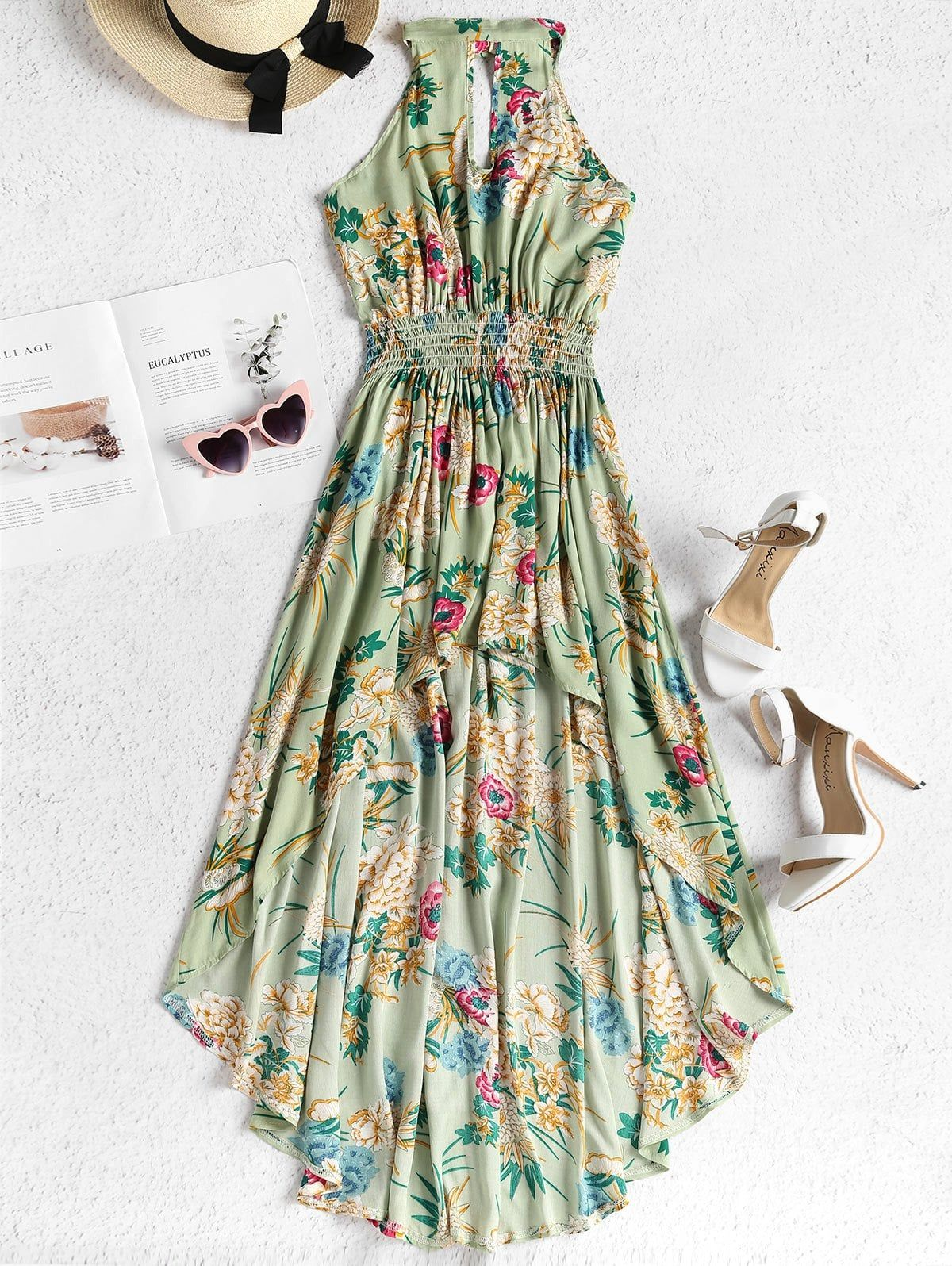 Smocked waist floral high low dress dresses to order pinterest