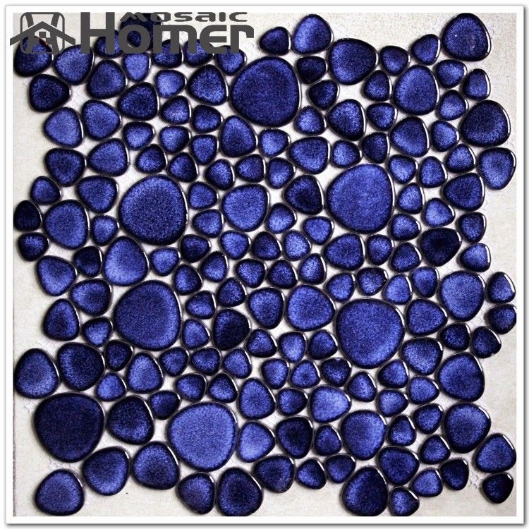 Navy Blue Pebble Ceramic Mosaic Tiles Bathroom Floor