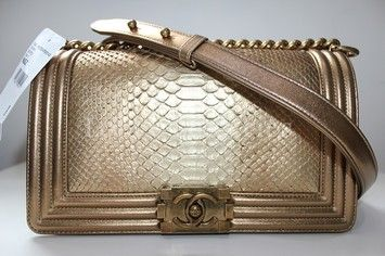 afe201b4d71089 Chanel Python Exotic Le Boy Flap Metallic Full Set With Tag GOLD Cross Body  Bag $7,500