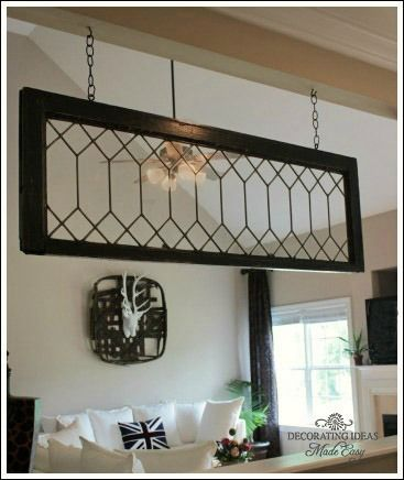 Hang A Vintage Leaded Glass Window With Eye Hooks Bolts Chains Kitchen Decorating Ideas You Will Love Window Decor Home Leaded Glass