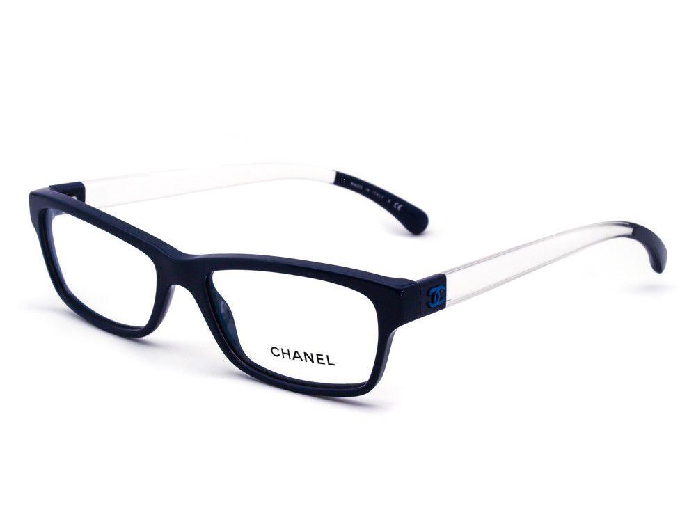 ff4ba06e9cf Chanel Eyeglasses 3274 C.1449 Navy Clear Rectangular Frame Italy 53  16 140