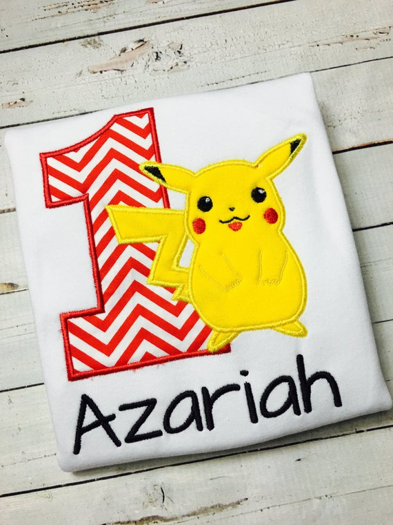 d5d55206 Personalized Pokemon Birthday Shirt / Pikachu / Poke Ball / 1-9 ...