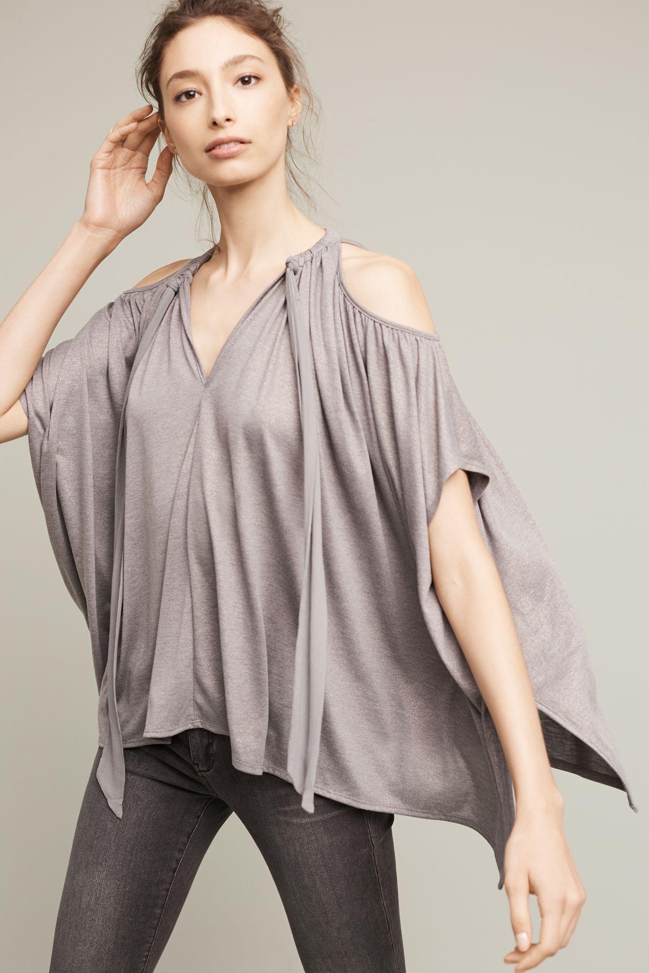 a3c8f347d631e Buy Deletta Women s Metallic Tulay Open-shoulder Top