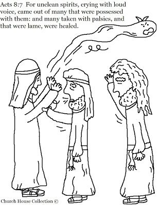 Acts 8 7 Unclean Spirits Coming Out Coloring Page Unclean