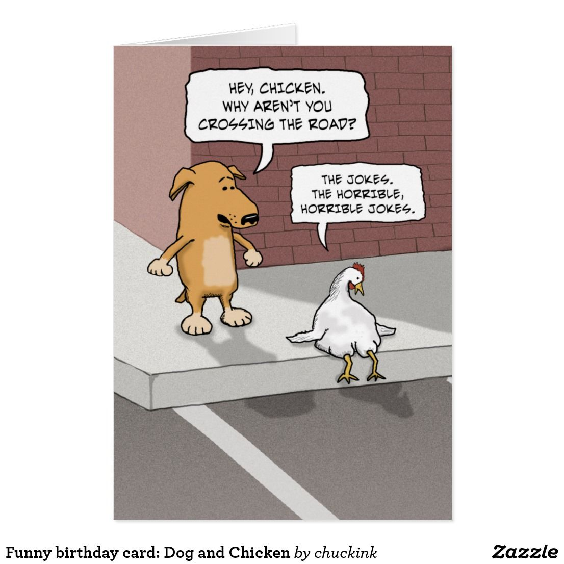 Funny dog and chicken on road birthday card