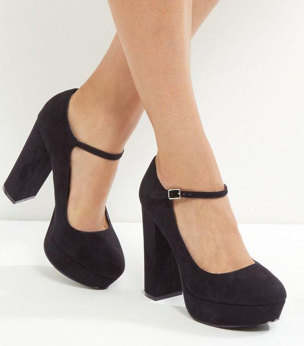 Wide Fit Black Suedette Platform Block Heels | New Look