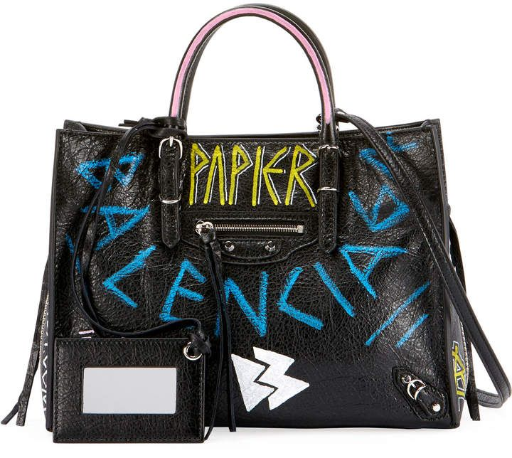 e3f0347a7d2461 Balenciaga Papier A6 Zip Around Graffiti Tote Bag | Products ...