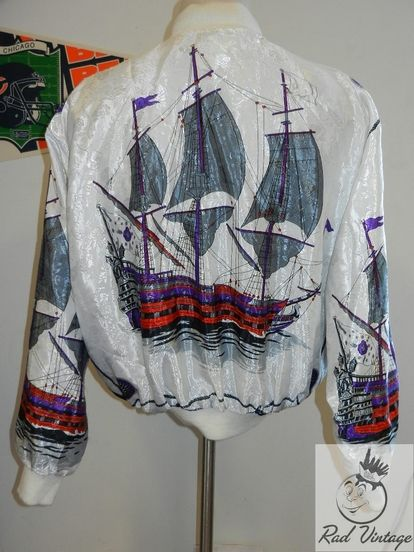 2ddbb9478ffd4 Details about Vntg 80s Silk Ships Bomber Jacket Amazing Versace ...