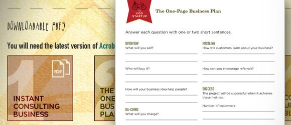 One Page Business Plan Template  Technology Tools And Tips