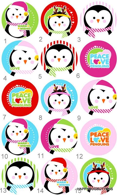 Penguin Flair Pinback Flatback Button Badge or Magnets 1 inch set of 10 by HappyDogButtons on Etsy