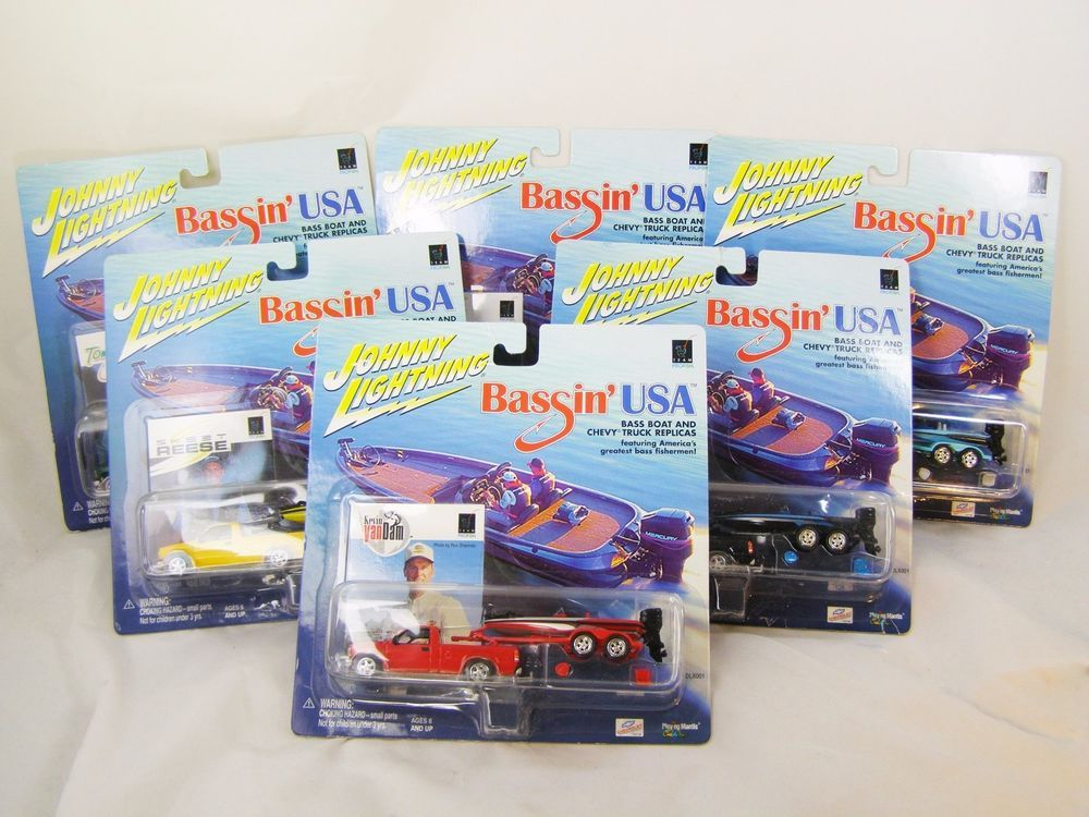Johnny Lightning Bassin Usa Bass Fishing Boats Trucks Set Of 6 New Bass Fishing Boats Fishing Boats Bass Fishing