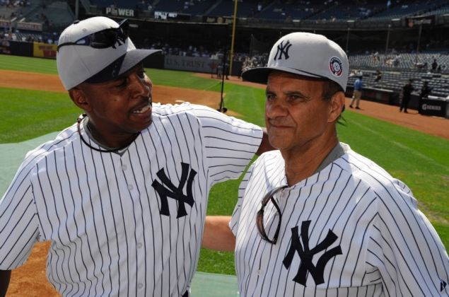 Willie Randolph with Joe Torre, Old Timers' Day.