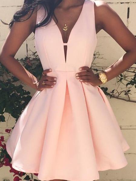 Fashion V Neck Sleeveless Mini Short Homecoming Dress, BTW132