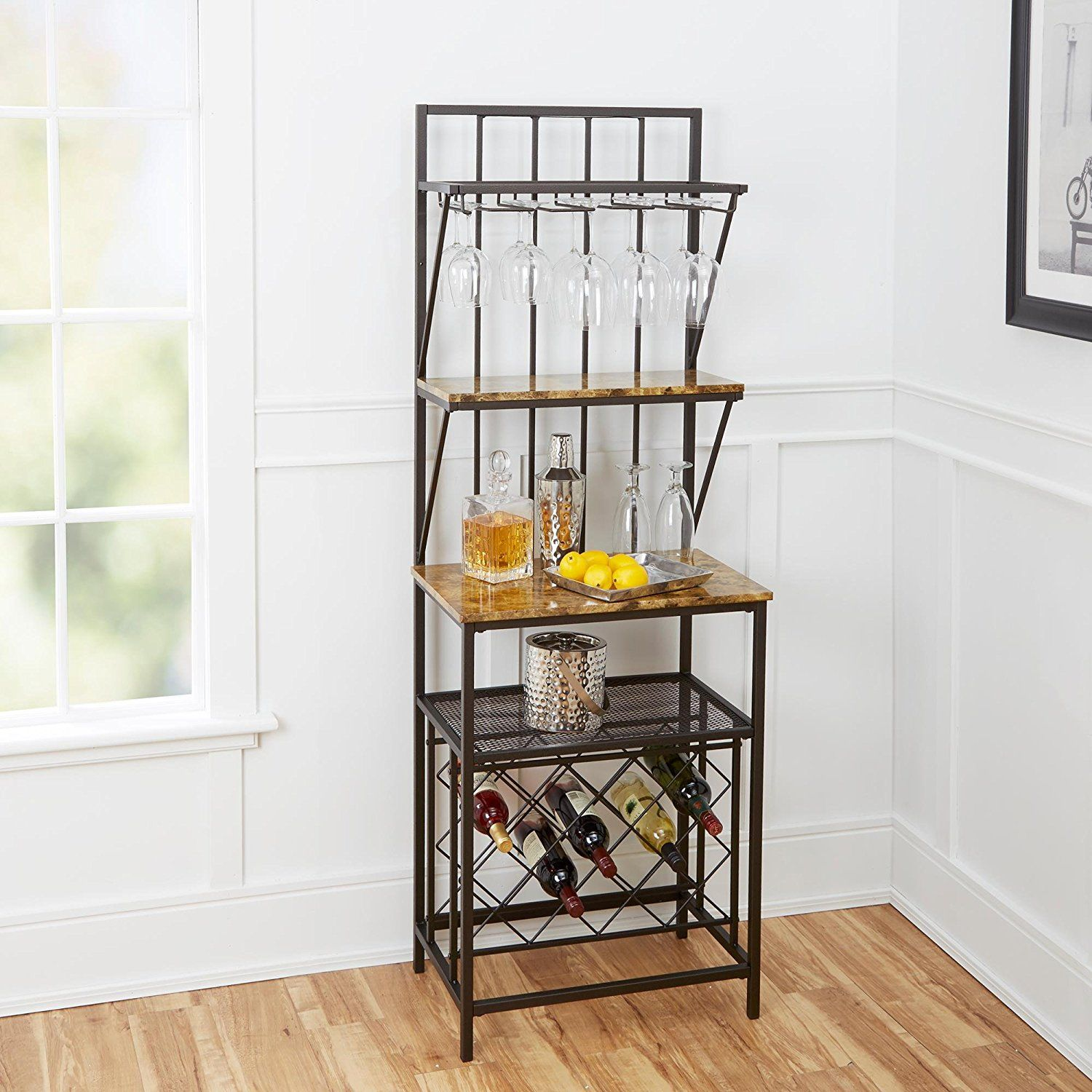 superb Bakers Rack Wine Part - 15: Amazon.com - Home Indoor Furniture Faux Marble Shelf Bakers Rack Wine  Bottle Kitchen Stand Metal Wood With Wine Bottle Storage antique brass  built-in glass ...