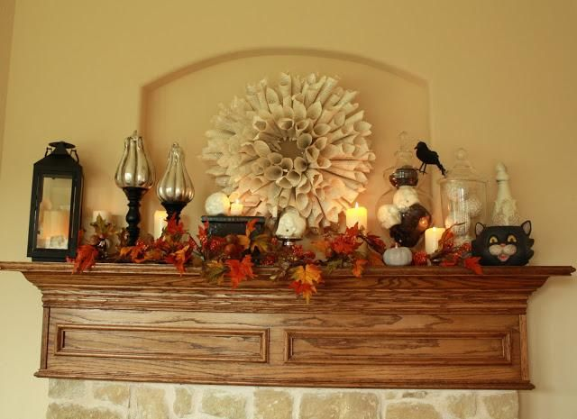 Mantel Decorations  IDEAS  INSPIRATIONS Halloween Fall Mantel