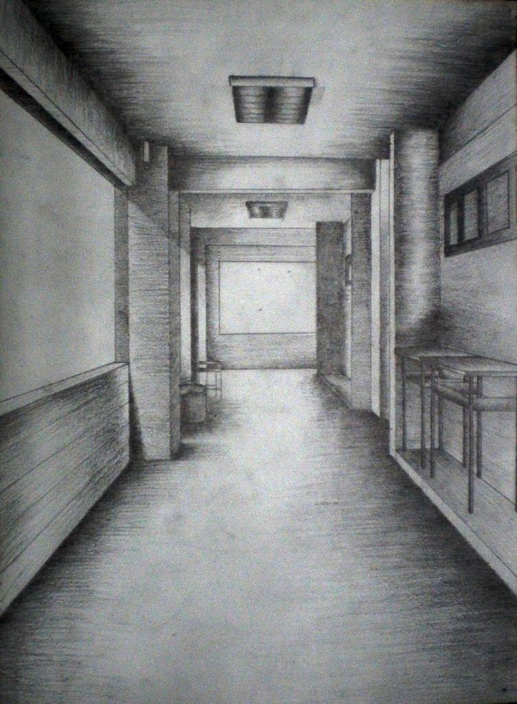 Bedroom In One Point Perspective Interior Drawing Sketch: Perspective Drawing Examples