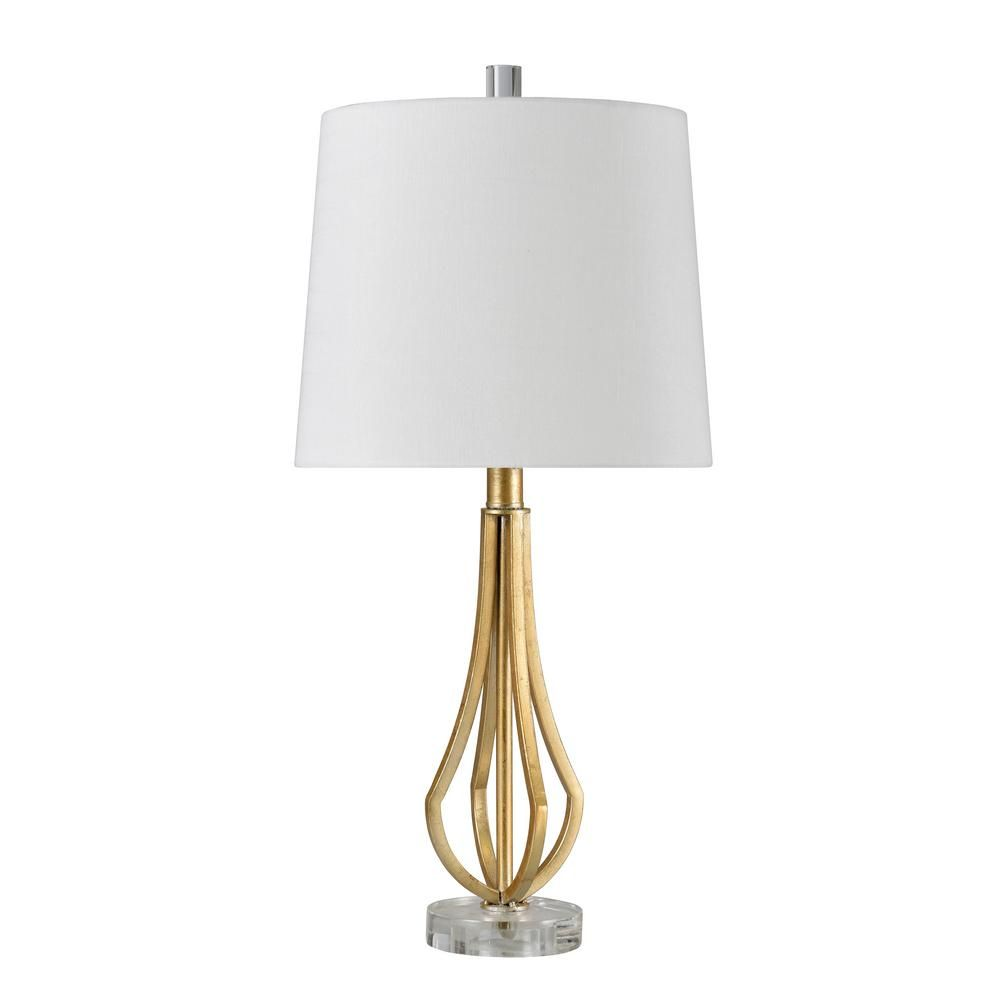 Stylecraft 24 In Antique Gold Table Lamp With Heavy White Hardback Fabric Shade L313585cds Gold Table Lamp Table Lamp Lamp