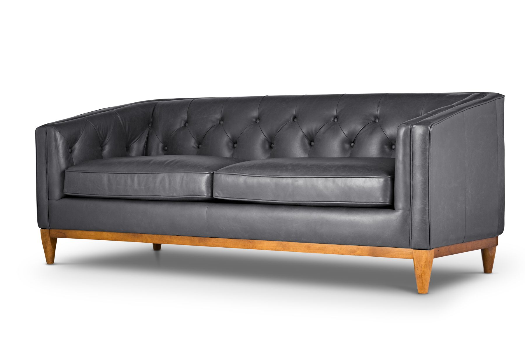 Grey Tufted Leather Sofa | Natale In Oxford Grey By Jovili. Style/Type