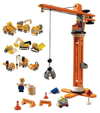 Crane Lift Wooden Playset Construction Building Pretend Play Christmas Present
