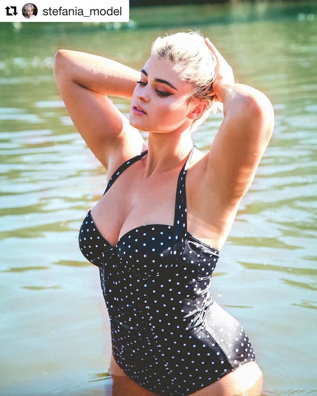 5b8038dafea Spotted  Stefania Ferrario in our Speckle Halter Underwire Swimsuit.  Repost