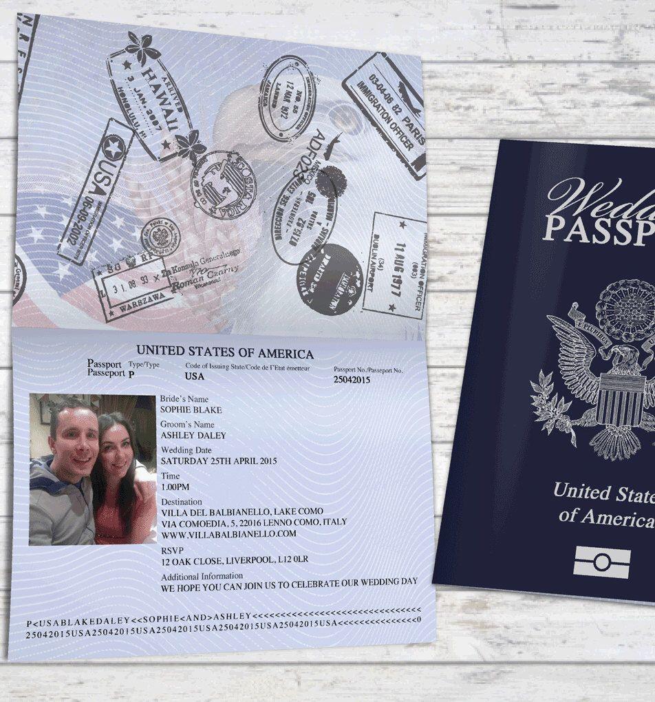 Personalised Passport Wedding Invitations USA United States of ...