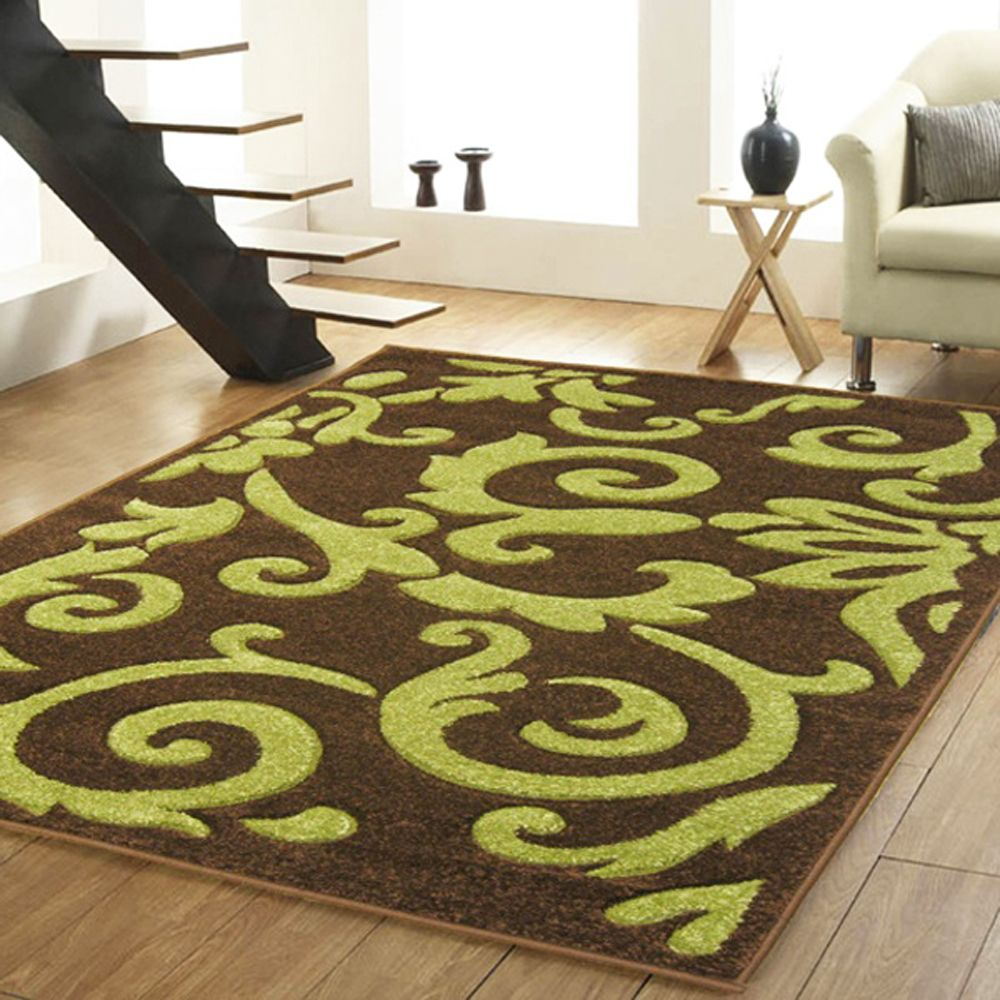 Small Extra Large Modern Chocolate Brown Lime Green Hand Carved Damask Rugs Ebay