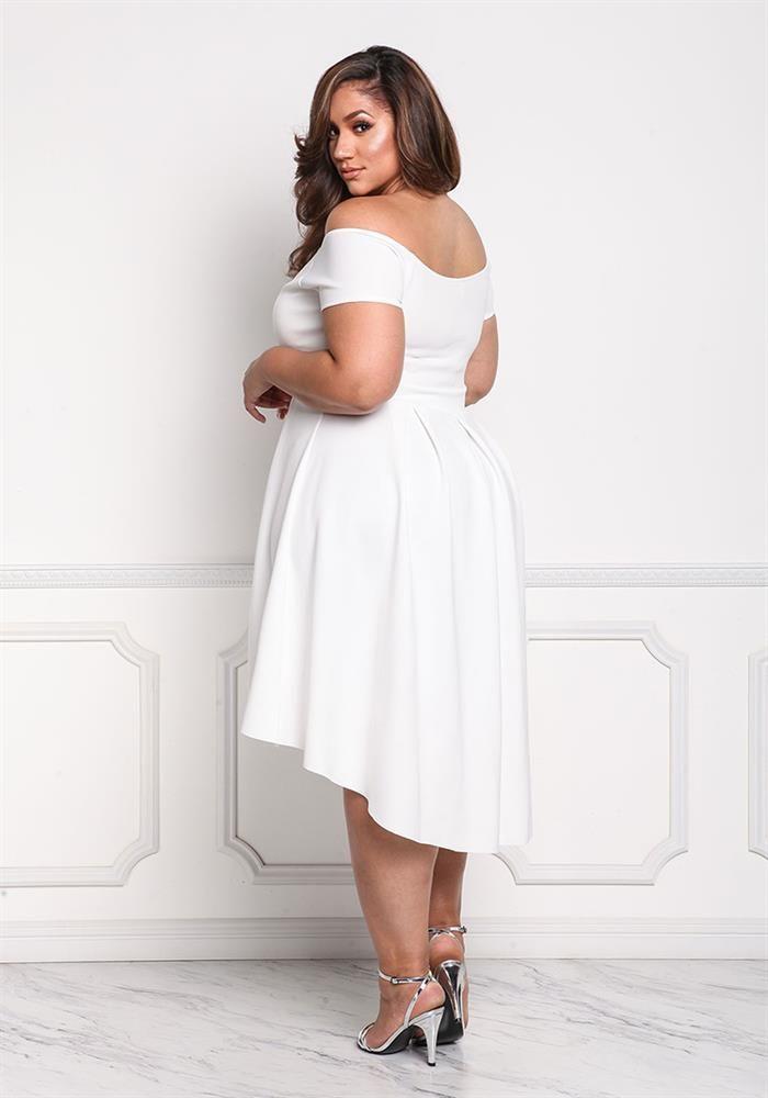 Plus Size Clothing Plus Size Off Shoulder Pleated Hi Lo Dress