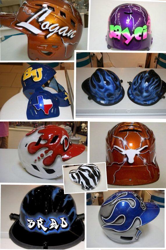 Custom Painted Baseball Helmets By Chanelescrafts On Etsy 125 00 Baseball Helmet Softball Helmet No Crying In Baseball