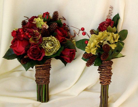 Woodland autumn winter wedding flowers silk bridal bridesmaid bouquet Rustic Chic bokay, pine cones Rust Burgundy.