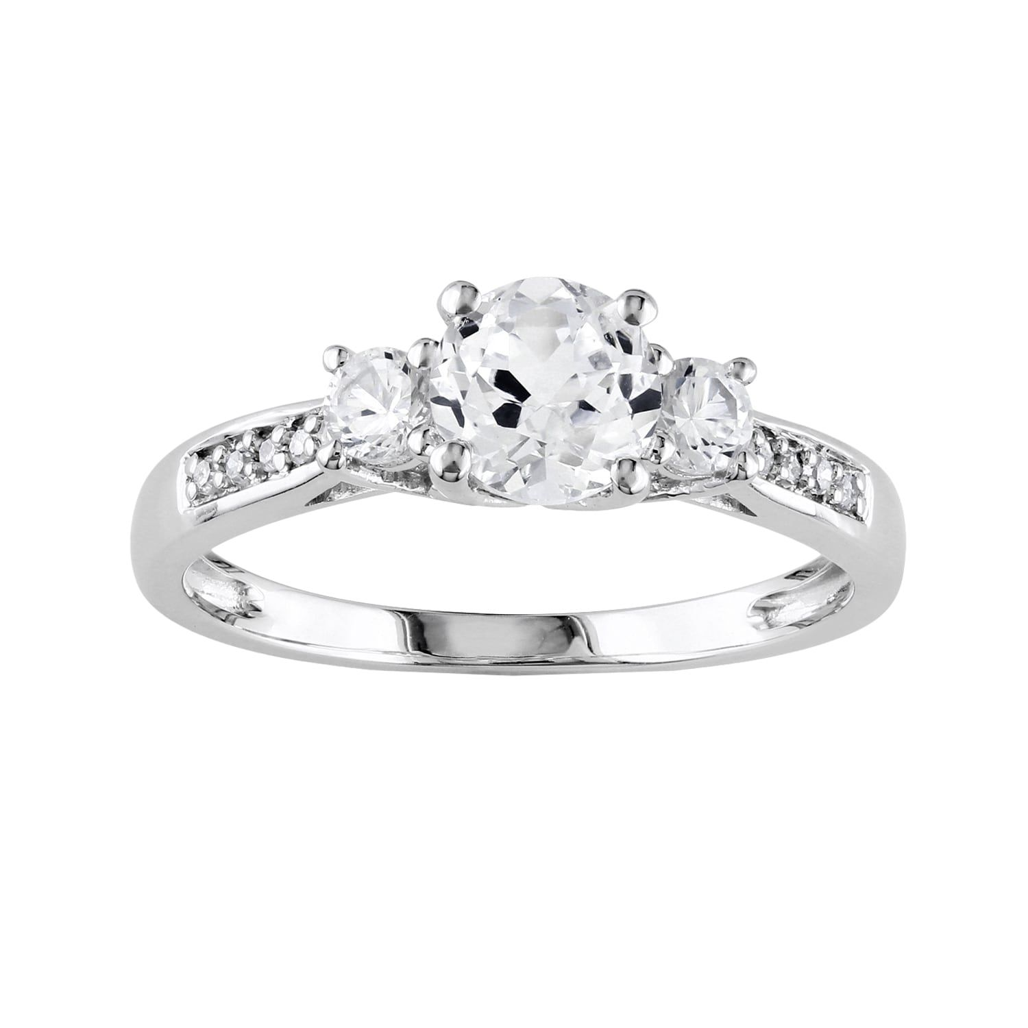 10k White Gold Lab Created White Sapphire Diamond Accent 3 Stone Wedding Ring Engagement Rings Sapphire White Gold Engagement Rings White Sapphire Ring