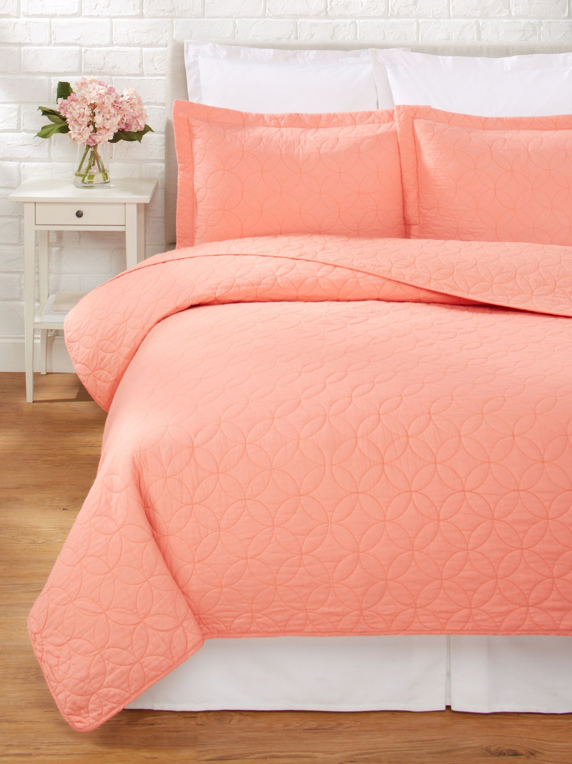laura ashley solid quilt set coral add color to your bedding with