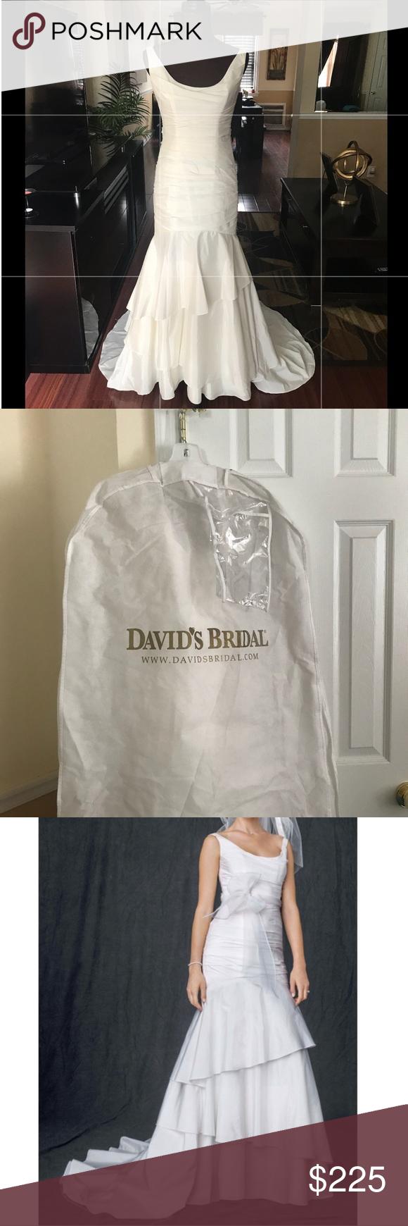 David's Bridal Scoop Neck Tiered Wedding Dress Tiered
