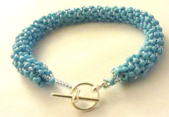 Turquoise Peyote Bracelet Tubular Peyote by BeadingWonders on Etsy