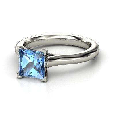 "Princess Blue Topaz 14K White Gold ""Eleni"" Ring from Gemvara. The engagement ring."