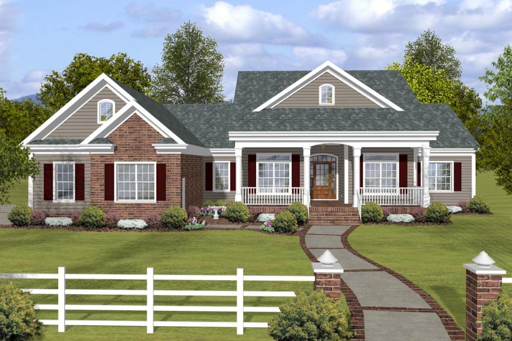 Plan 20144ga Southern Ranch Home Plan Mit Gewolbtem Familienzimmer Craftsman Style House Plans Craftsman House Plans Brick House Plans
