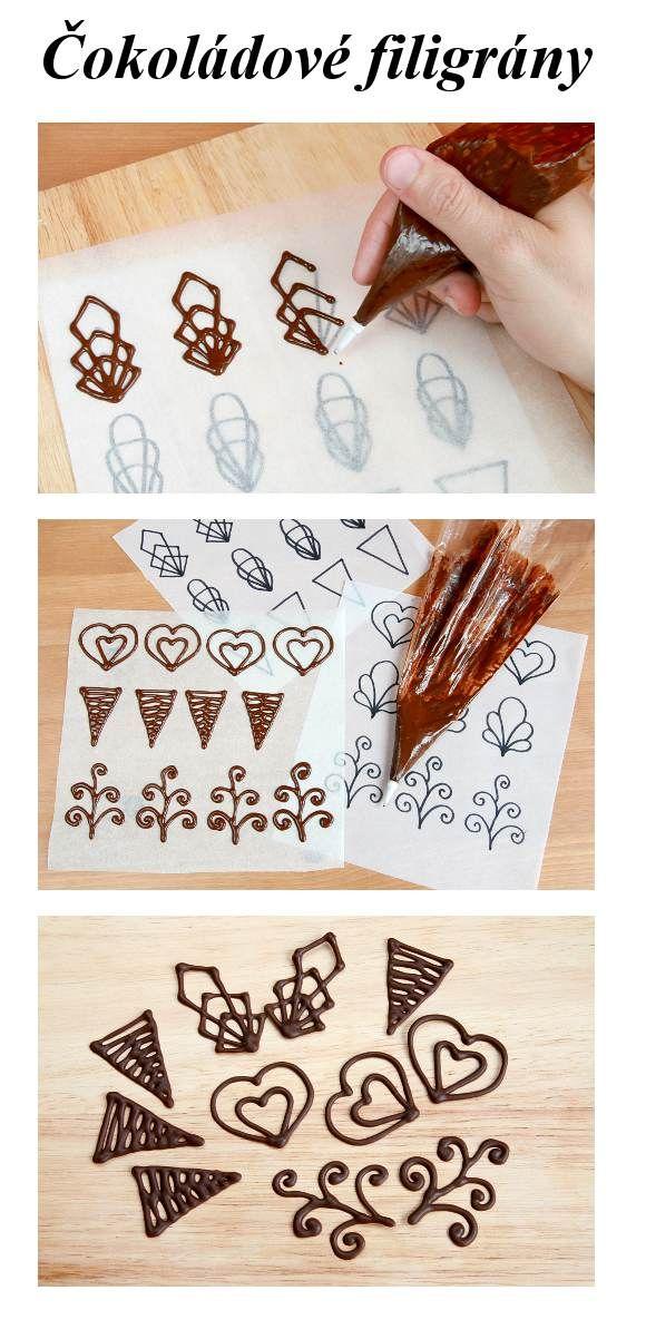 Jednoduchý návod na čokoládové ozdoby, tzv. filigrány. Na webové stránce najdete detailní popis a užitečné komentáře, které vás provedou jejich zdárnou výrobou.
