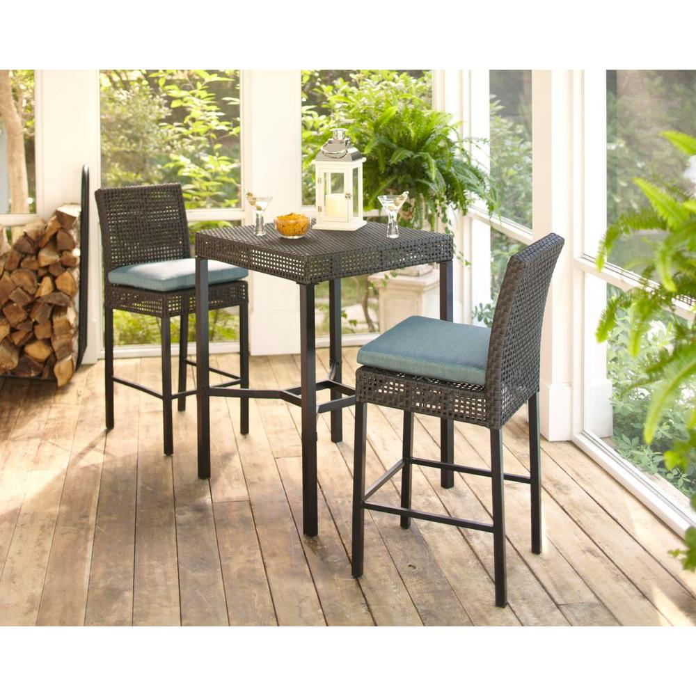 Hampton Bay Fenton 3 Piece Patio High Bar Bistro Set With Peacock And Java Cushion D9131 Bistro At The Home Depot Patio Seating Sets Patio Seating Patio Set