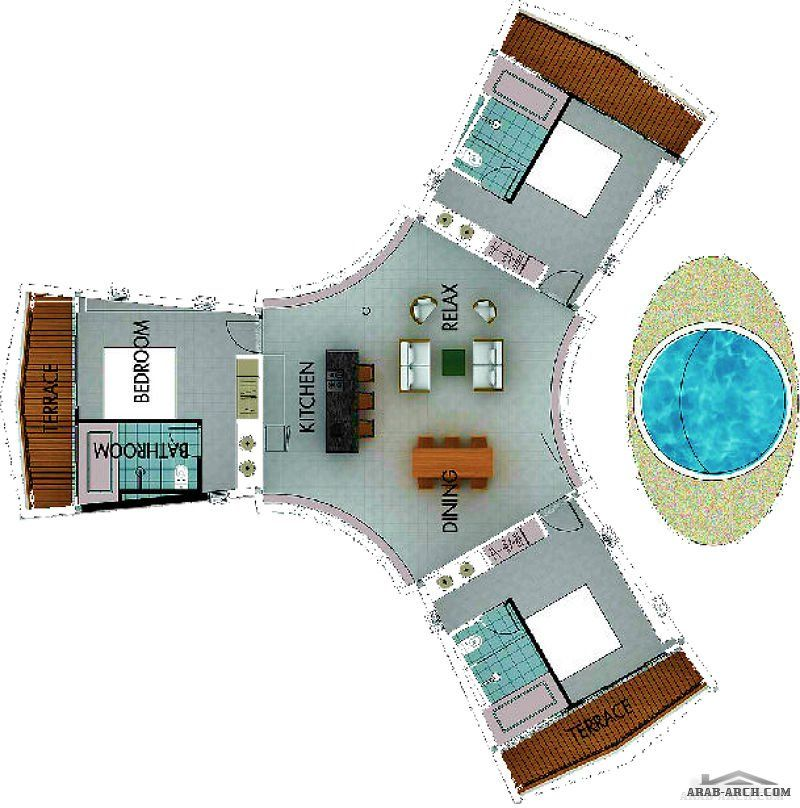 خريطة استراحه على شكل نجمه ثلاثية 3 غرف نوم ماستر Architecture Home Decor Decor