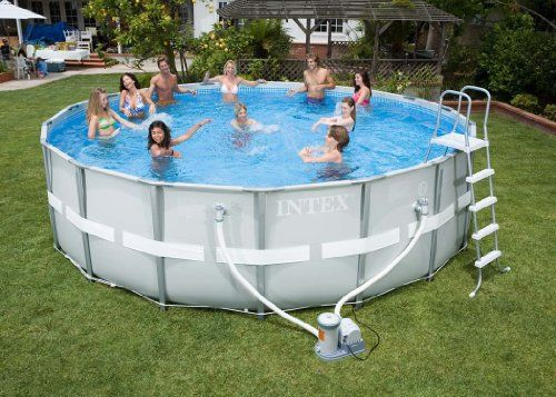 "Intex Ultra Frame Pool 16' x 48"" Swimming Pool Above"