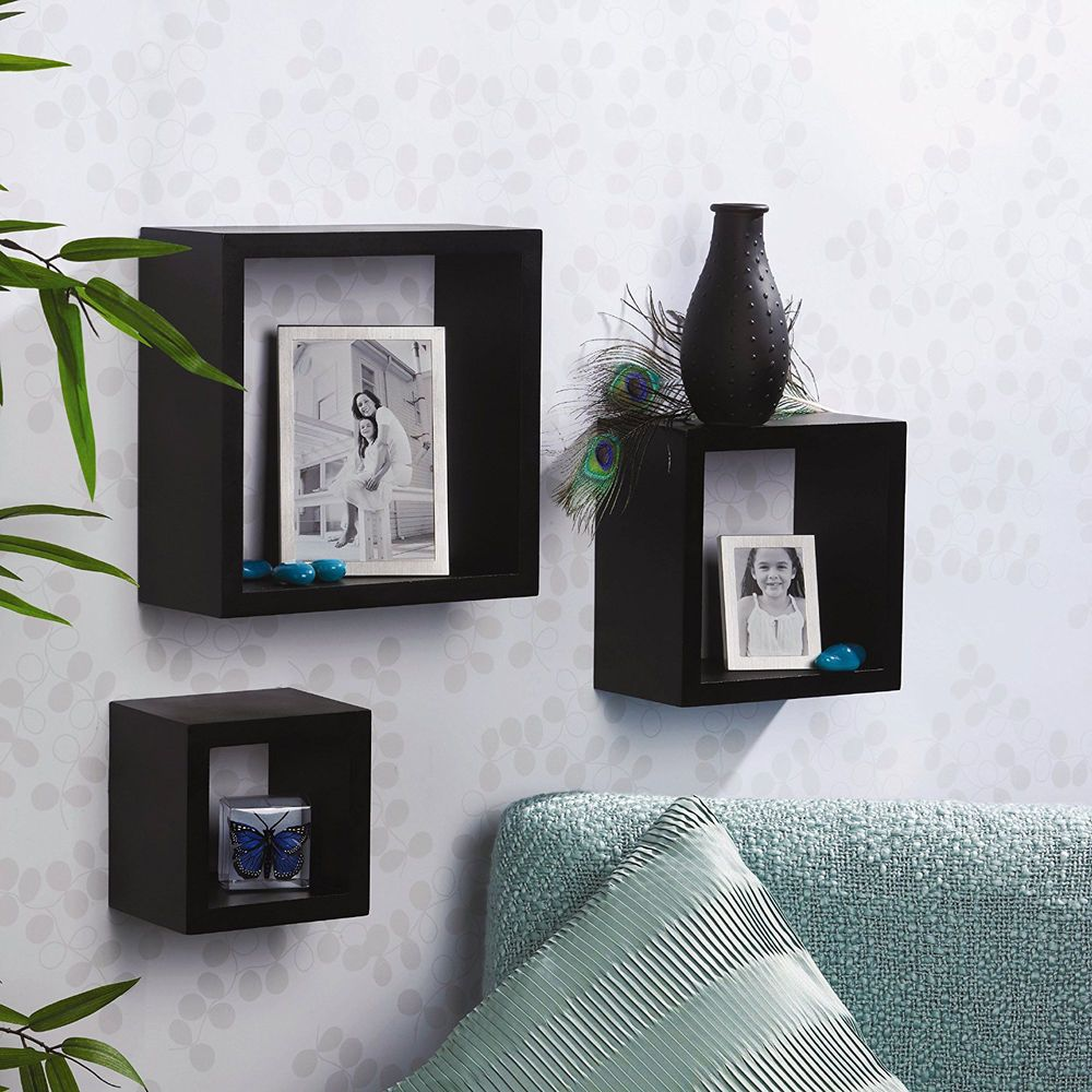 Melannco Floating Shelves Adorable Floating Wall Shelves Display Black Shelf Wood Home Decor Ledge Design Decoration