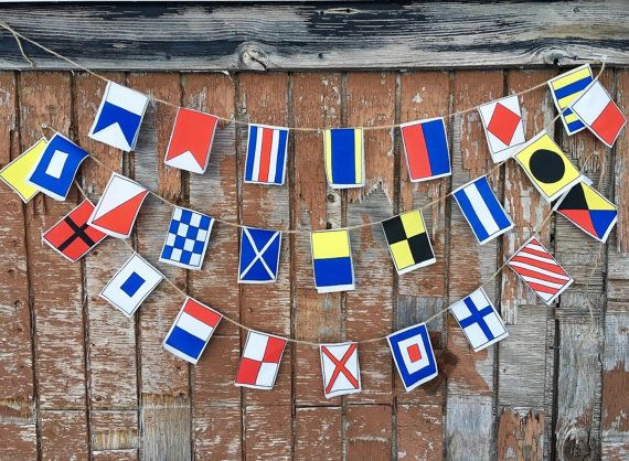 Nautical Flags Garland A Z Small Flags Etsy In 2020 Nautical Flags Flag Garland Small Flags