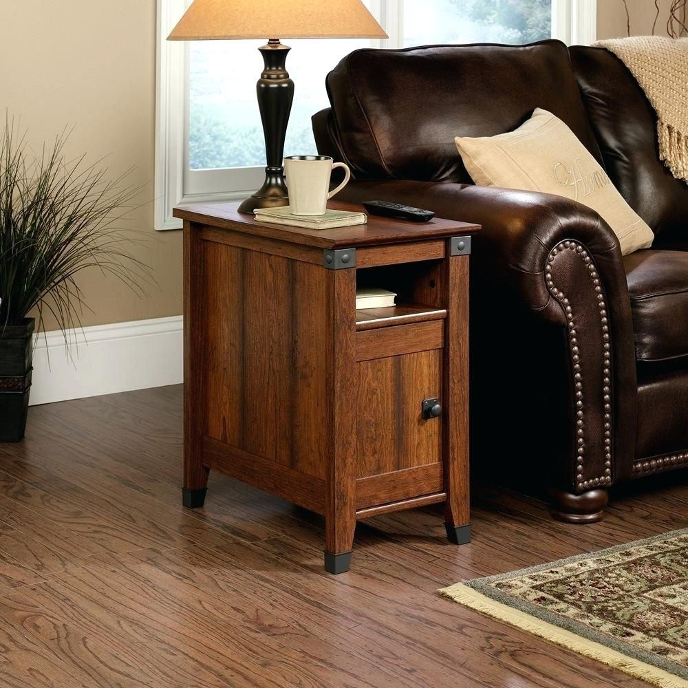 Furniture Narrow End Table With Drawer In Brown With