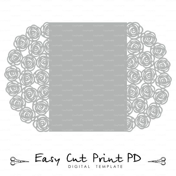 "Wedding Invitation Pattern Card 5X7"" Template Roses Lace Folds"