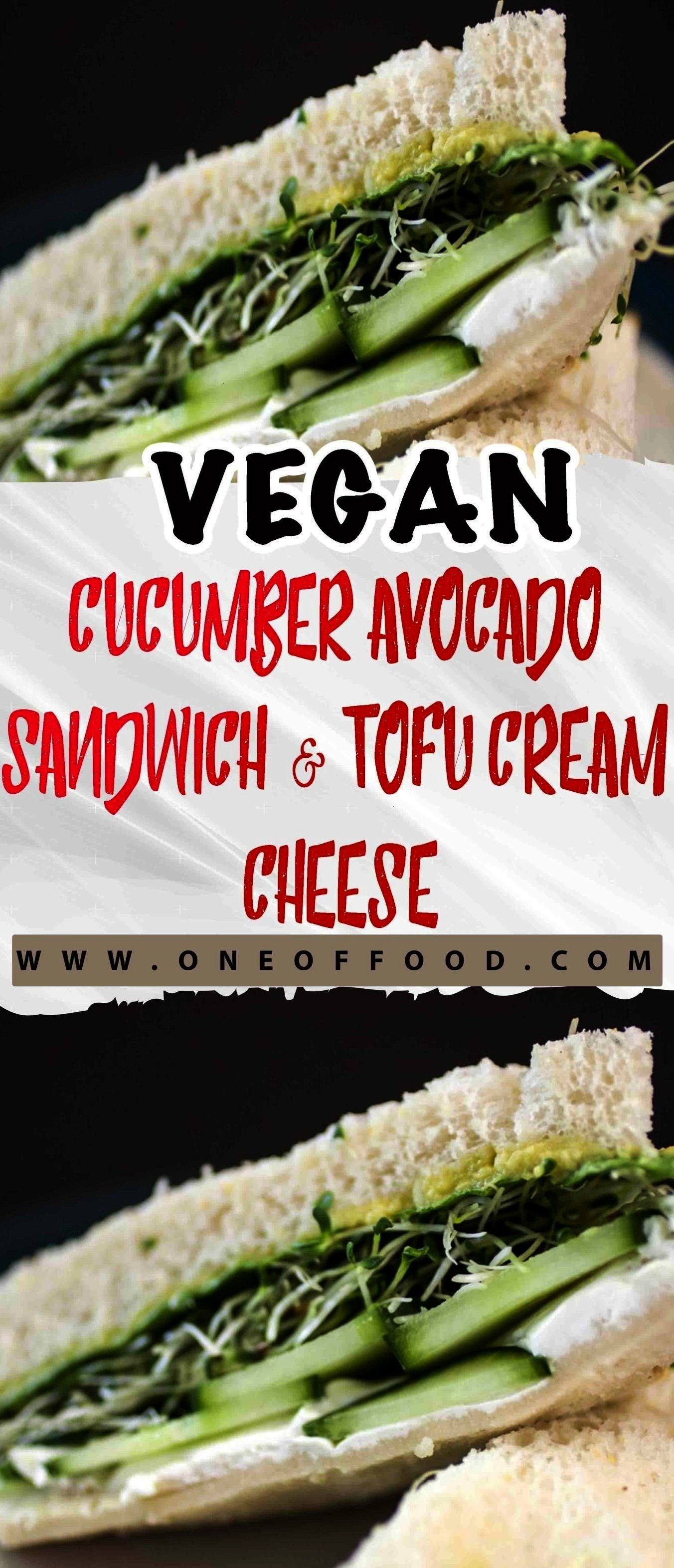 Cucumber Avocado Sandwich with Tofu Cream Cheese has it all! It's an easy, tasty lunch t... This